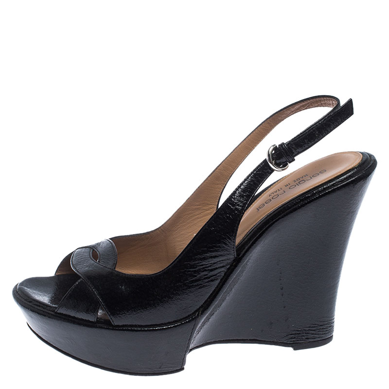 Sergio Rossi Black Patent Leather Wedge Platform Ankle Strap Sandals Size