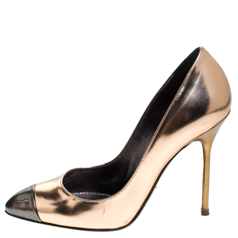 Sergio Rossi Metallic Rose Gold Patent Leather Cap Toe Pumps Size