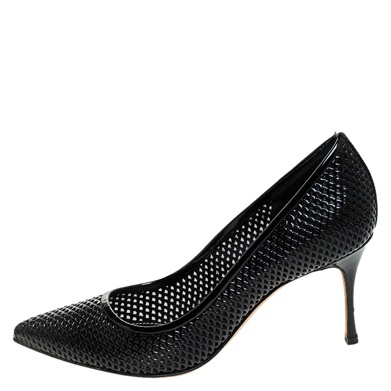 Sergio Rossi Black Lazer Cut Patent Leather Pointed Toe Pumps Size