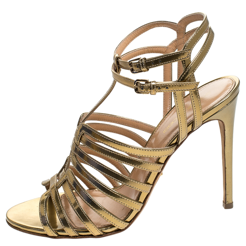 Sergio Rossi Gold Patent Leather Ines High Strappy Sandals Size