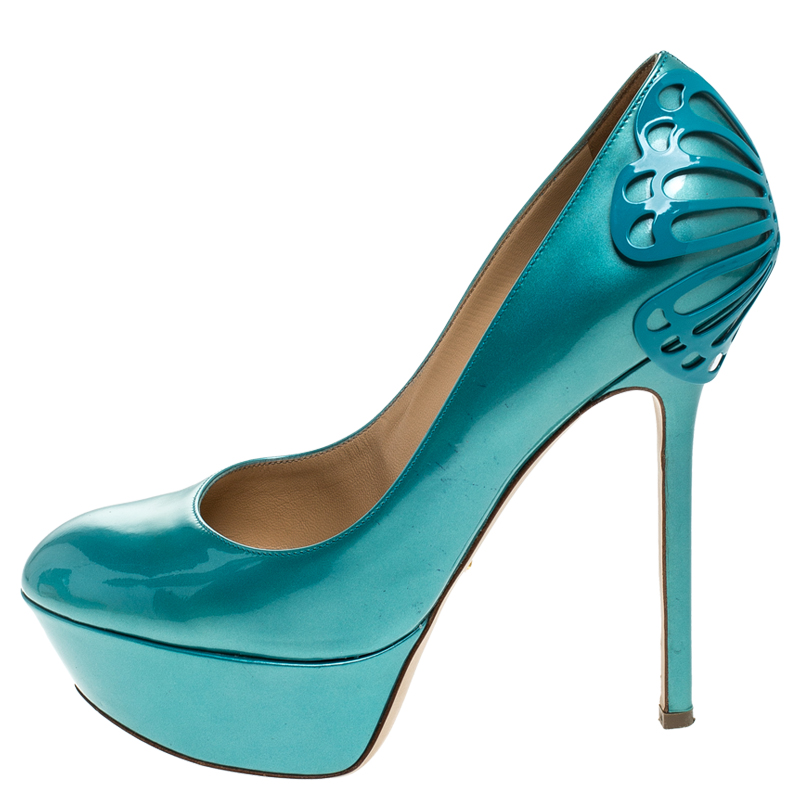 Sergio Rossi Blue Patent Leather Butterfly Plaque Platform Pumps Size