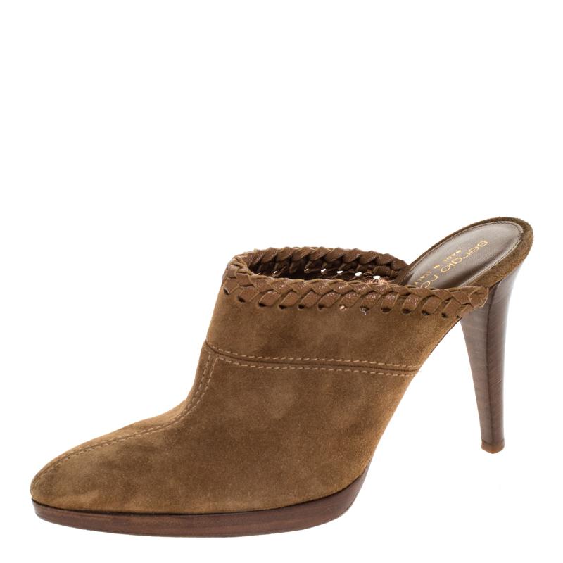 Sergio Rossi Beige Suede Wooden Platform Pointed Toe Mules Size 38