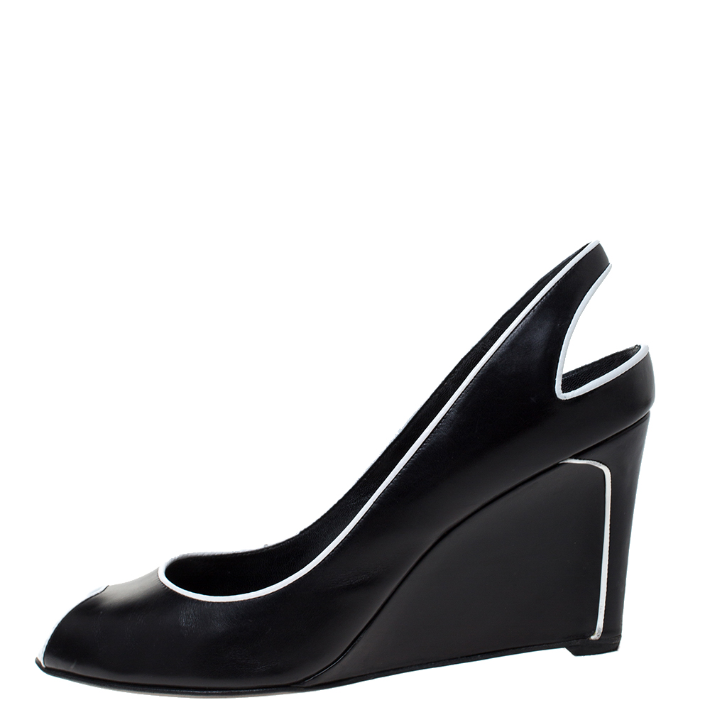 Sergio Rossi Black and White Trim Leather Wedge Peep Toe Pumps Size 40  - buy with discount