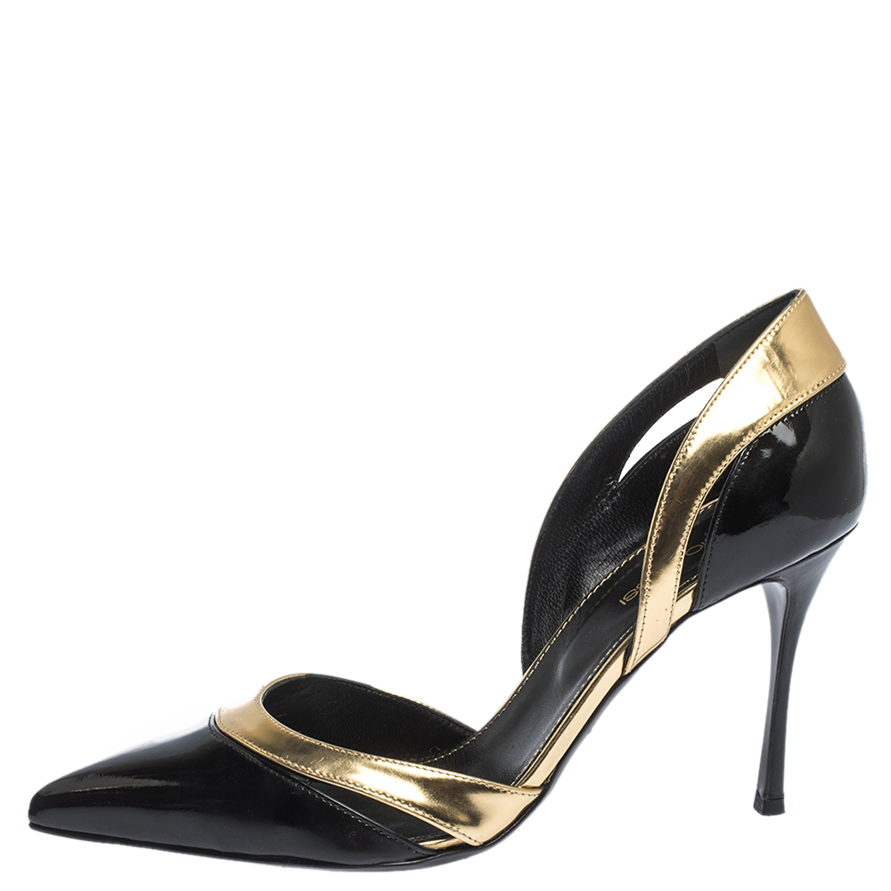 Sergio Rossi Black Patent And Gold Leather Pointed Toe D'orsay Pumps Size 38.5  - buy with discount