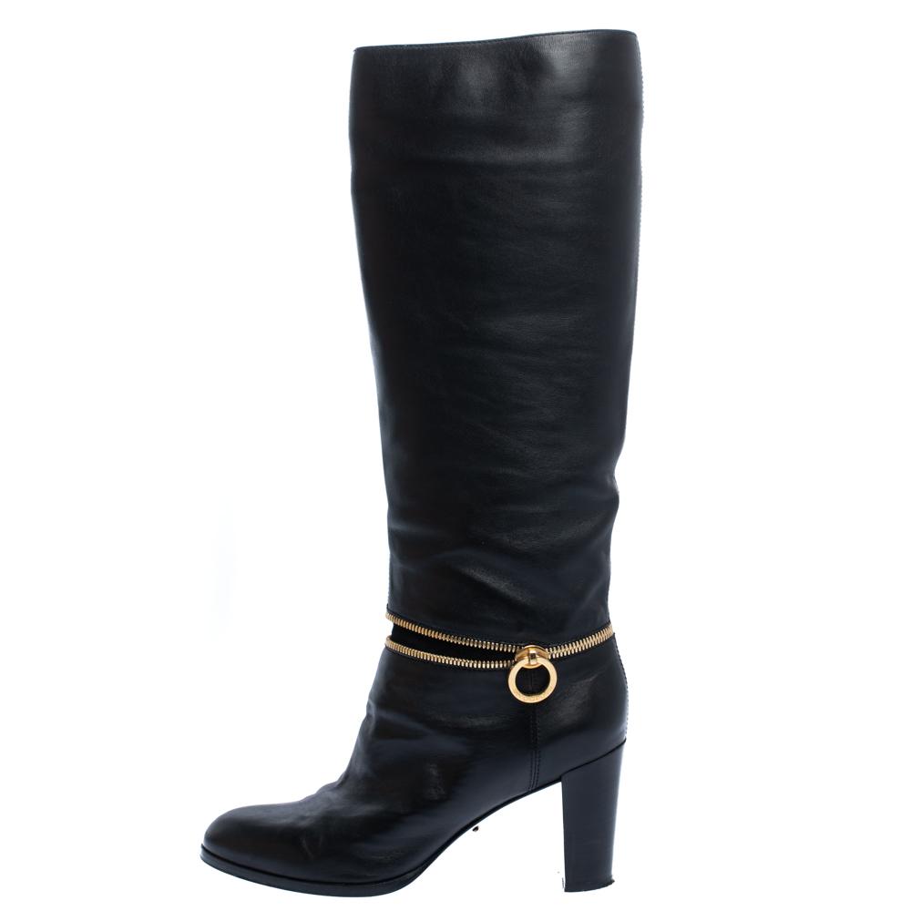 Sergio Rossi Black Leather Zip Detail Knee High Block Heel Boots Size 38  - buy with discount