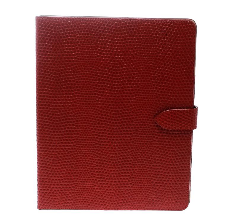 Купить со скидкой Smythson Red Lizard Embossed Leather iPad Cover