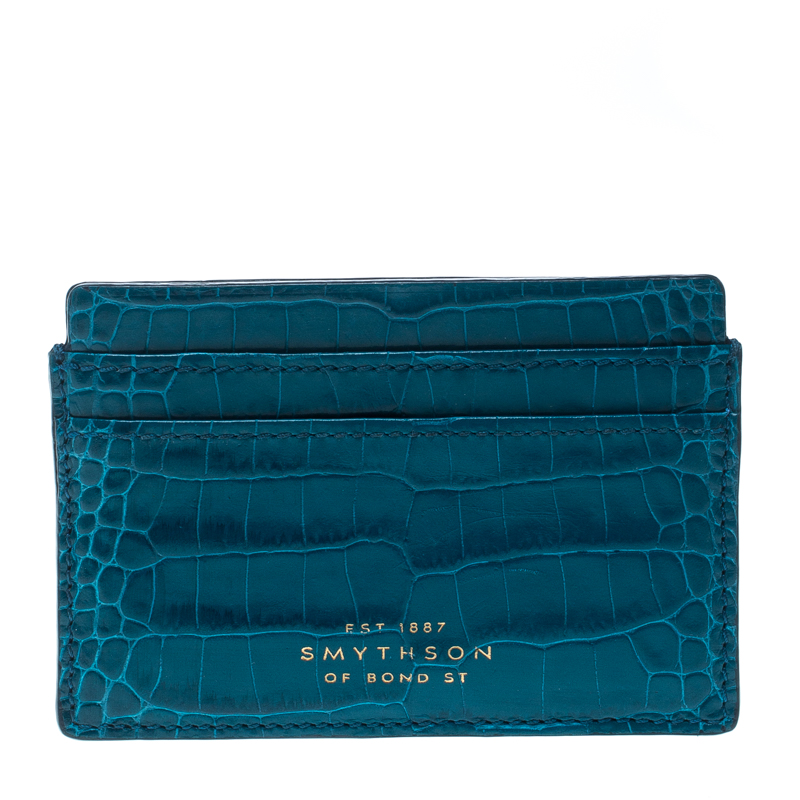 Купить со скидкой Smythson Blue Croc Embossed Leather Mara Card Holder