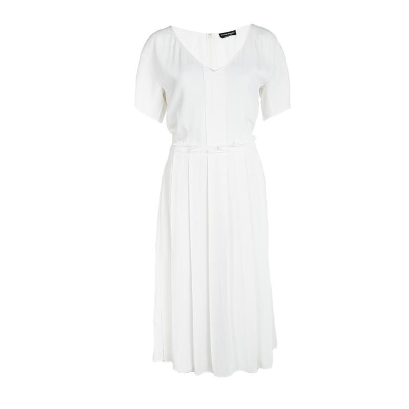 Sonia Rykiel Off White Pleated Tie Detail Short Sleeve Dress M