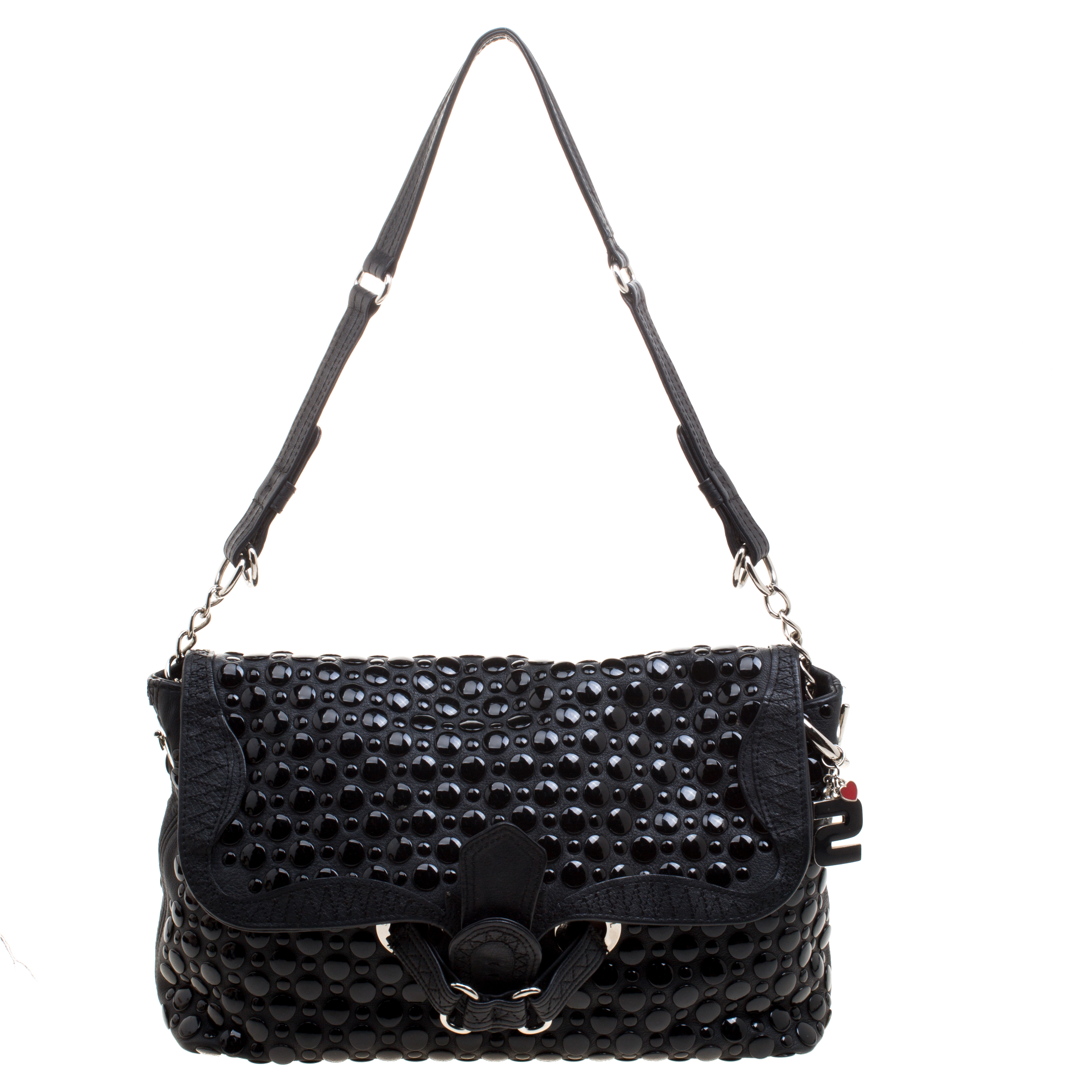 16cb378fd24f Buy Sonia Rykiel Black Leather Studded Shoulder Bag 118173 at best ...