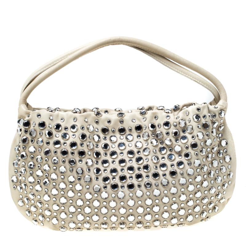 Sonia Rykiel White Crystal Embellished Leather Domino Shoulder Bag