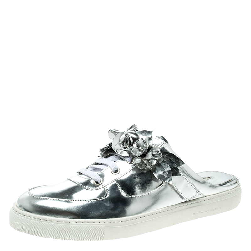 huge selection of d3356 dfe85 Sophia Webster Metallic Silver Leather Lilico Jessie Sneaker Mules Size 41