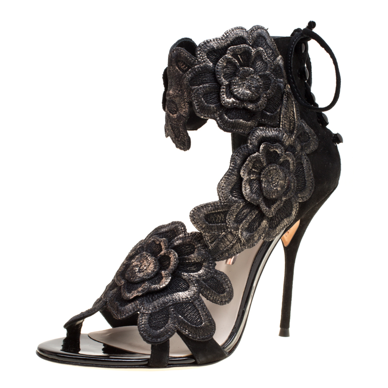 555cce825922 ... Sophia Webster Black Suede Winona Floral Embroidered Ankle Cuff Sandals  Size 41. nextprev. prevnext