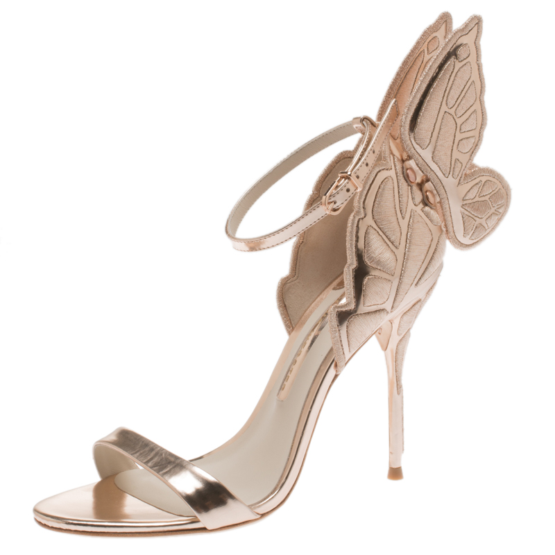 f2f1ae2250f Sophia Webster Metallic Rose Gold Leather Chiara Butterfly Ankle Strap  Sandals Size 37