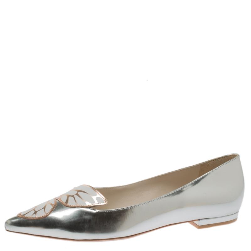 Sophia Webster Metallic Silver Leather Bibi Butterfly Pointed Toe Ballet Flats Size 39.5