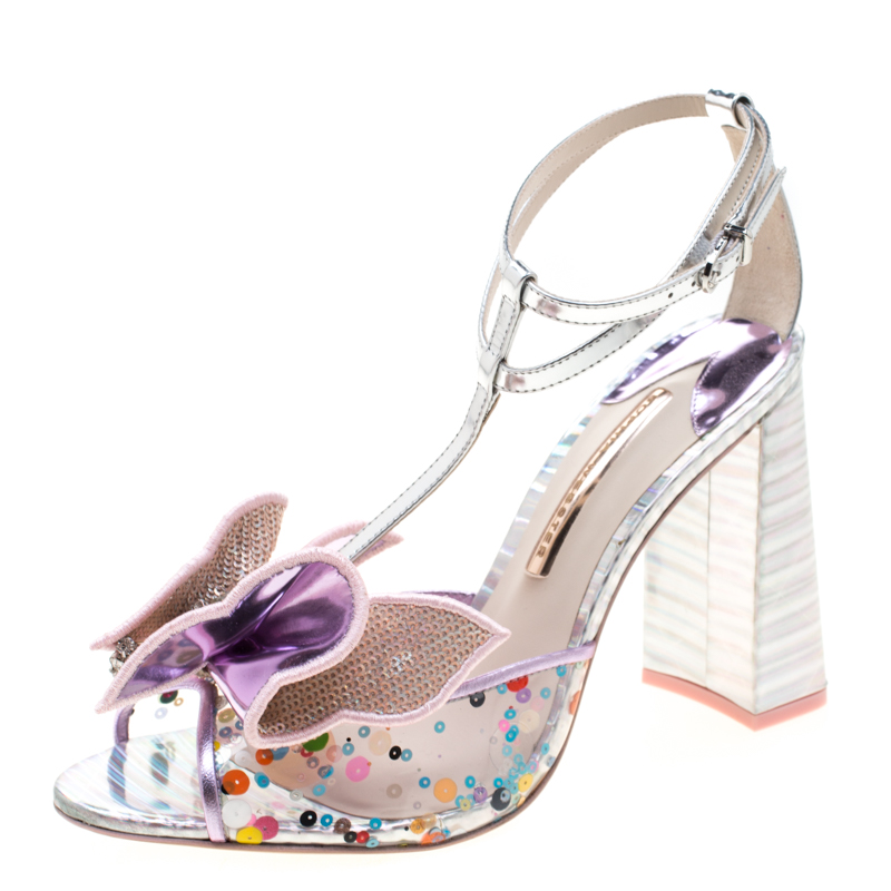 Sophia Webster Multicolor Metallic Leather And PVC Lana Crystal Embellished Block Heel Sandals Size 42