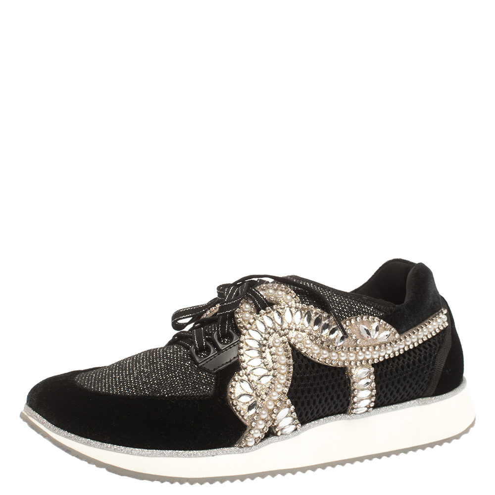 Sophia Webster Black Velvet/Mesh and Embellishment Royalty Low Top Sneakers Size 41
