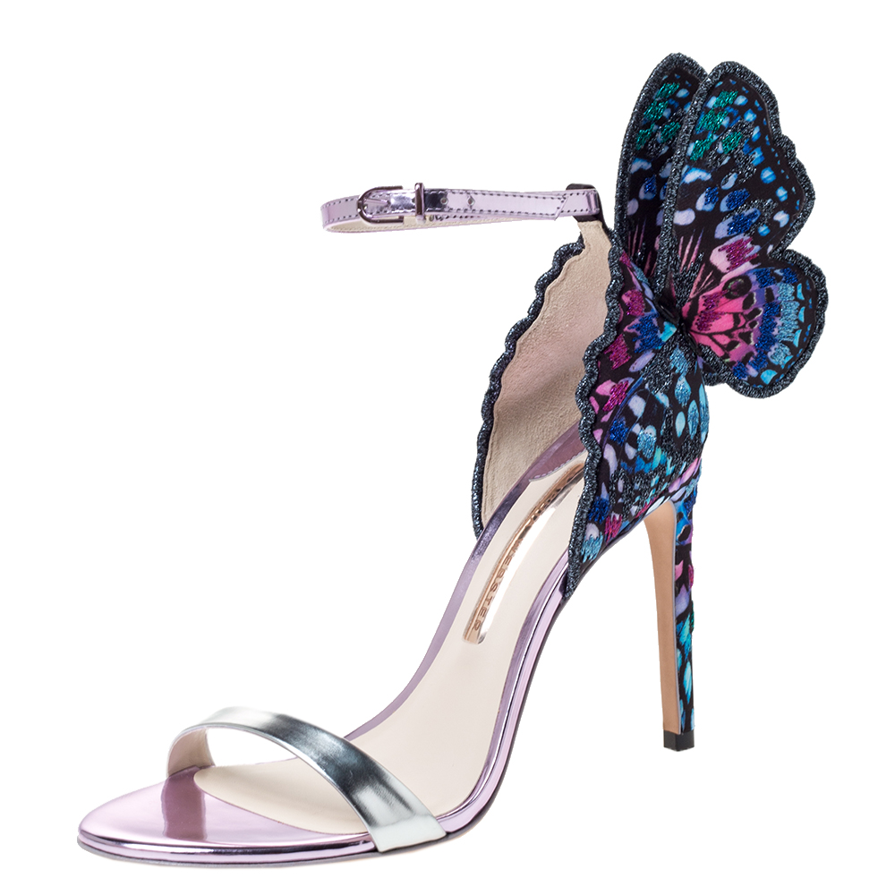 Sophia Webster Multicolor Leather and Lace Fabric Chiara Butterfly Ankle Strap Sandals Size 38