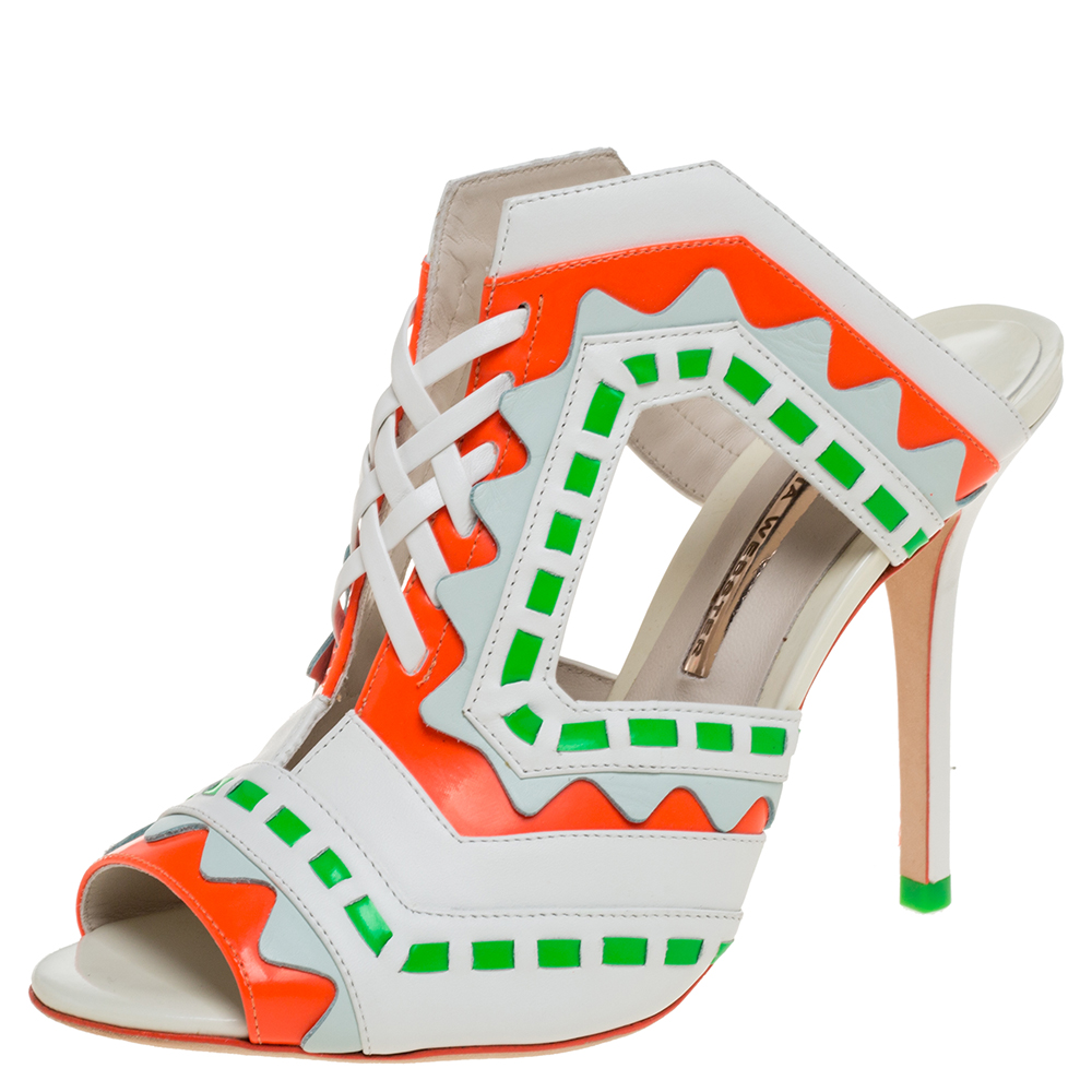 Pre-owned Sophia Webster Multicolor Leather Riko Cut Out Slide Sandals Size 39