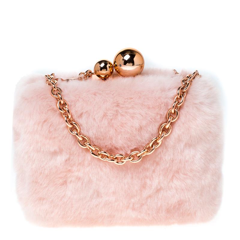 Sophia Webster Light Pink Faux Fur Vivi Bella Chain Clutch