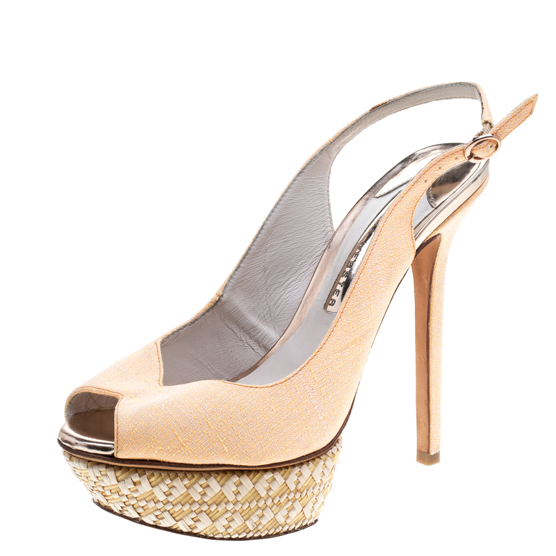 Sophia Webster Fluro Apricot Canvas Peron Raffia Platform Peep Toe Slingback Sandals Size 37