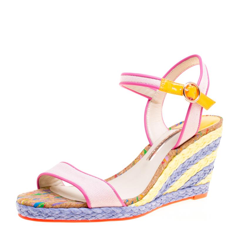 Sophia Webster Multicolor Canvas Lucita Mid Espadrille Wedge Ankle Strap Sandals Size 40