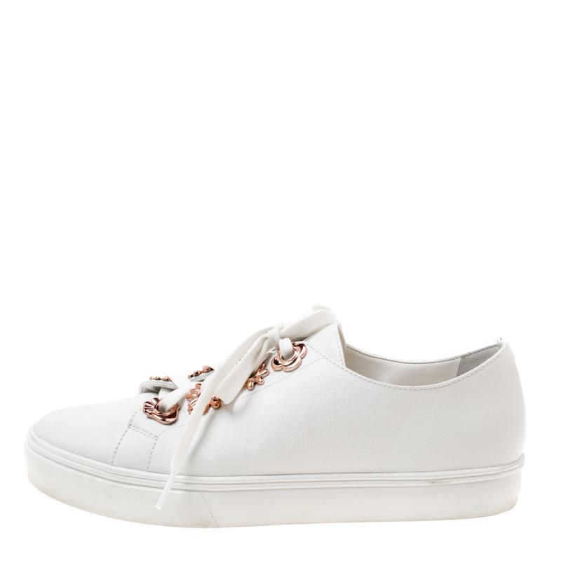 Sophia Webster En Cuir Blanc Penny Fleur De Faibles Top Sneakers Taille 40