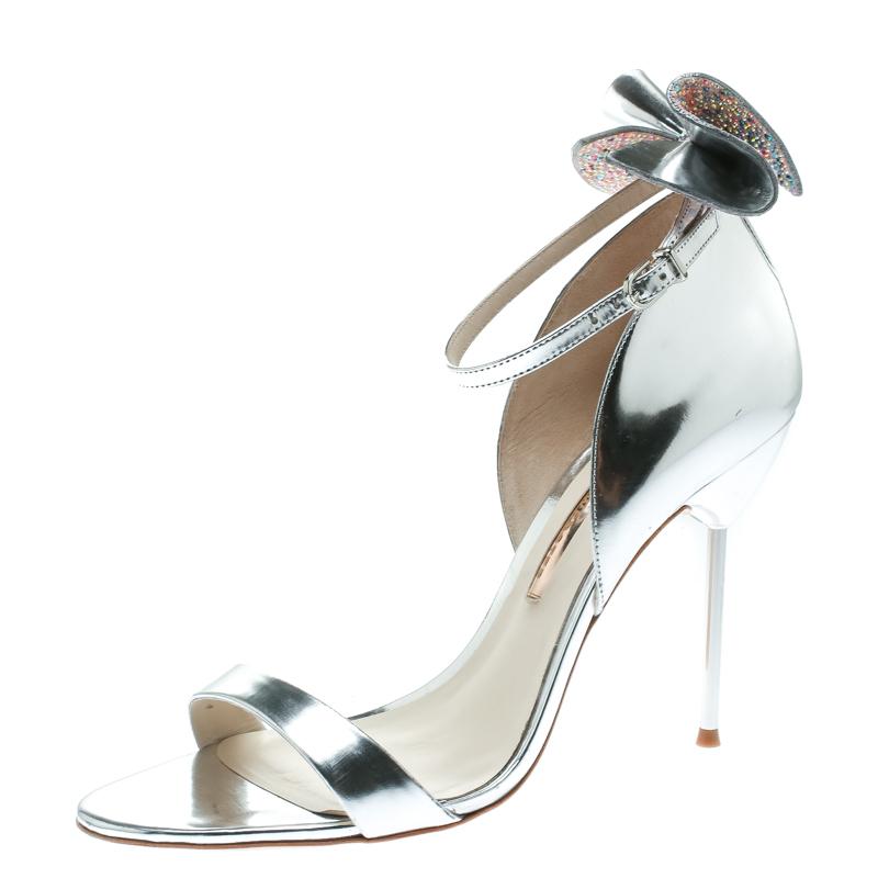 b4bbdb388f8 ... Sophia Webster Metallic Silver Leather Maya Crystal Embellished Bow Ankle  Strap Sandals Size 39. nextprev. prevnext