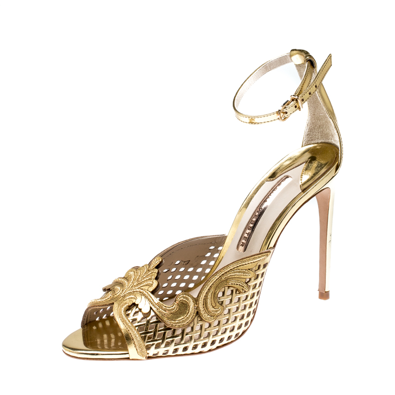 Sophia Webster Metallic Gold Mirror Leather Rivera Ankle Strap Sandals Size 40