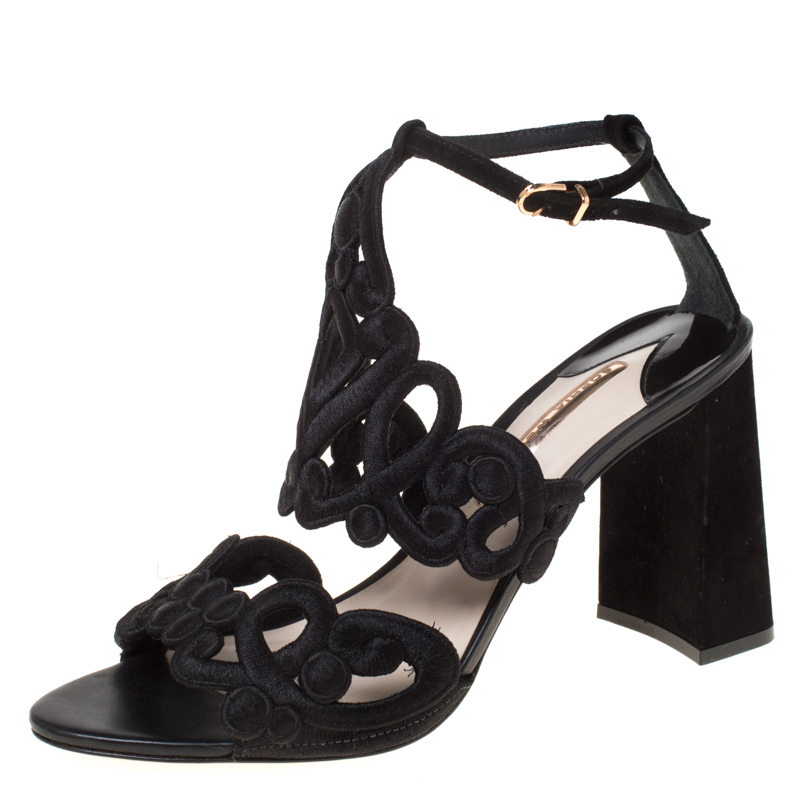Sophia Webster Black Embroidered Lace And Suede Albany Block Heel Sandals Size 41