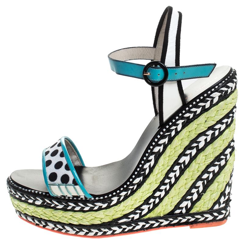 Sophia Webster Multicolore À Pois, Toile Et Cuir Lucita Espadrille Wedges Sandals Taille 39