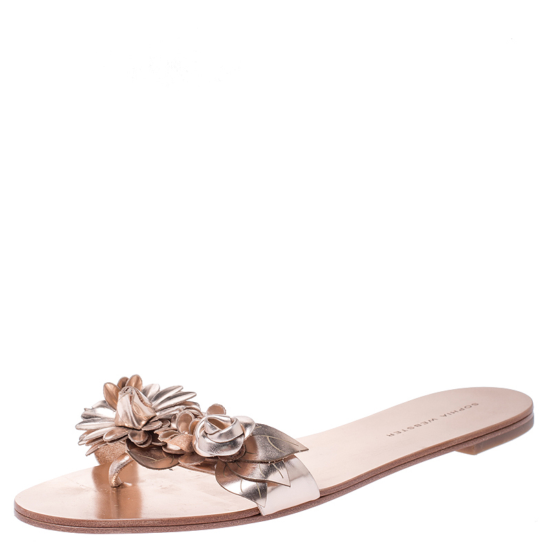 Sophia Webster Metallic Rose Gold Leather Lilico Floral Embellished Flat Slides Size 39
