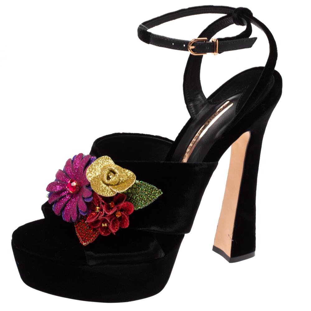 Sophia Webster Black Velvet Flower Embellished Platform Ankle Strap Sandals Size 40.5