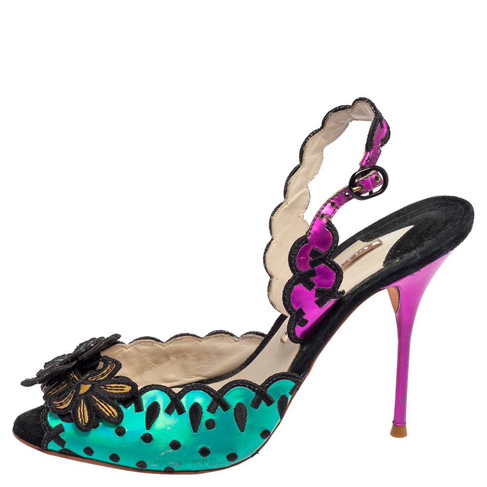 Sophia Webster Multicolor Suede and Coated Fabric Floral Applique Slingback Sandals Size 39  - buy with discount