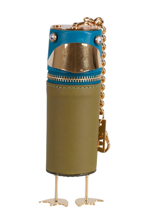 Sophie Hulme Olive Green/Blue Budgie Bag Charm