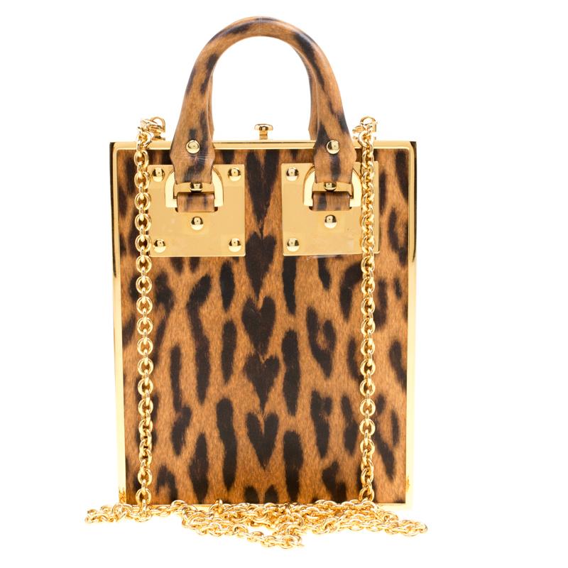 Sophie Hulme Brown Leopard Print Leather Compton Box Top Handle Shoulder Bag