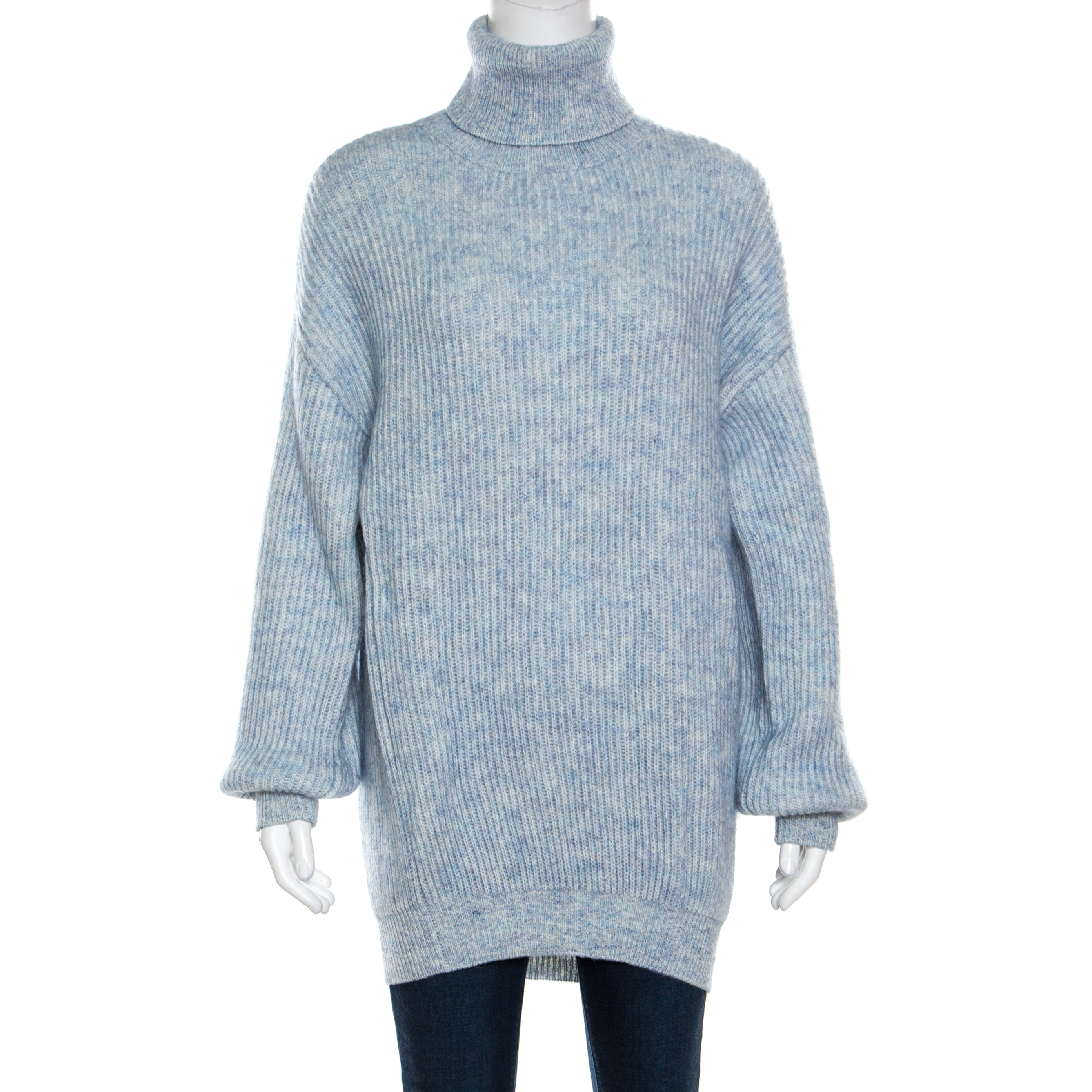 a210d925365 ... Stella McCartney Mottled Blue Wool and Mohair Blend Rib Knit Turtleneck  Sweater L. nextprev. prevnext