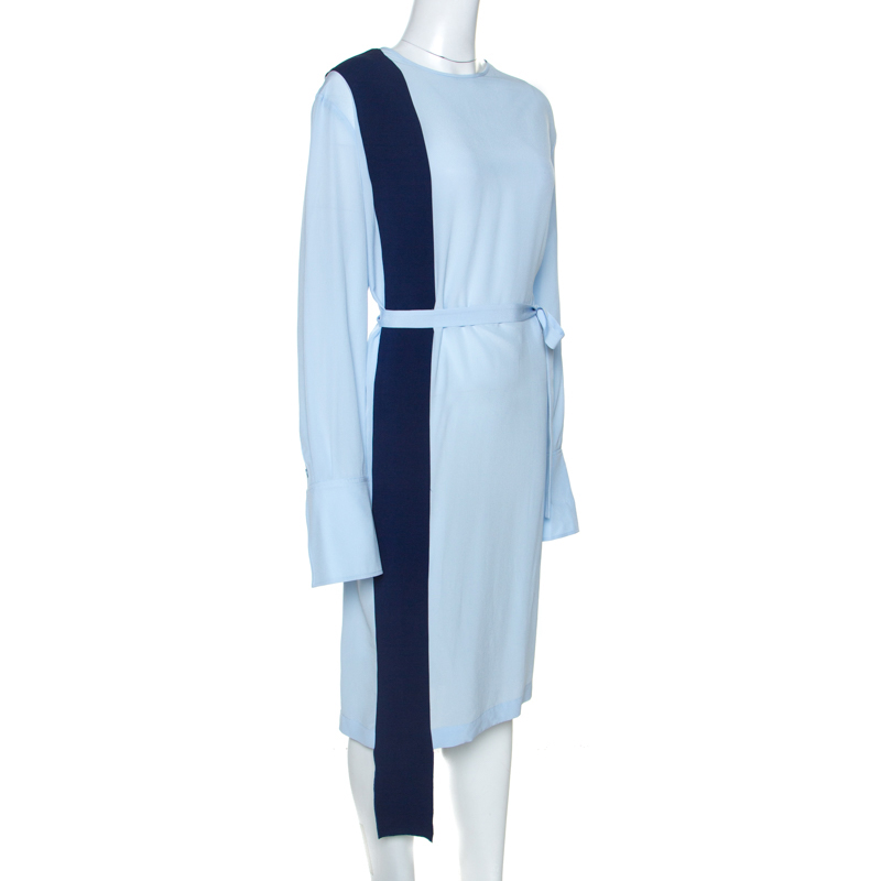 Stella McCartney Bleu Colourblock De Soie Robe Ceinturée M