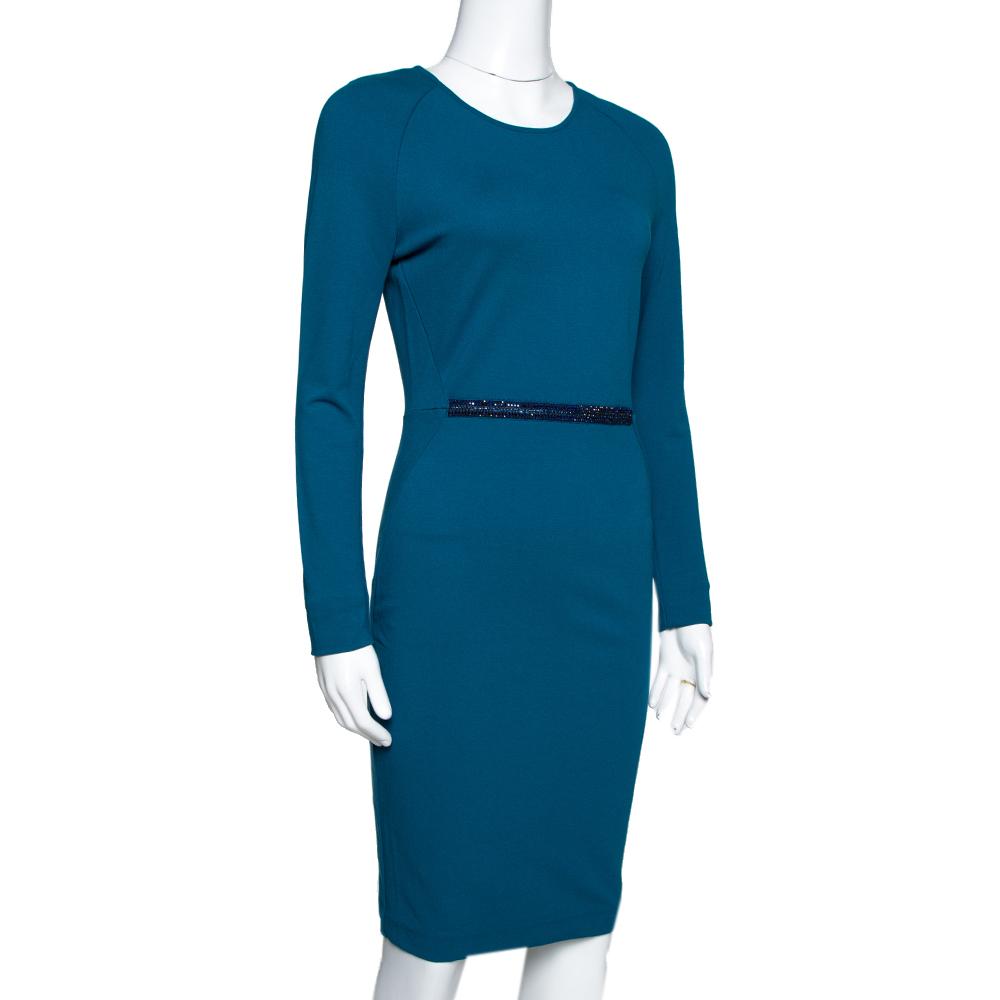 Stella McCartney Teal Stretch Knit Embellished Sheath Dress S