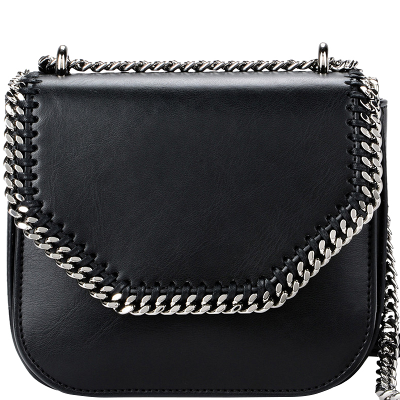 2560eb9a3ccf5 ... Stella McCartney Black Eco Nappa Faux-Leather Mini Falabella Box  Shoulder Bag. nextprev. prevnext