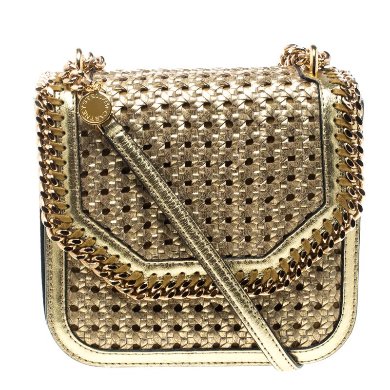 55814abec2 ... Stella McCartney Metallic Gold Wicker Faux Leather Medium Falabella Box  Shoulder Bag. nextprev. prevnext