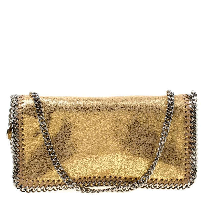 Stella McCartney Metallic Gold Faux Leather Falabella Shoulder Bag