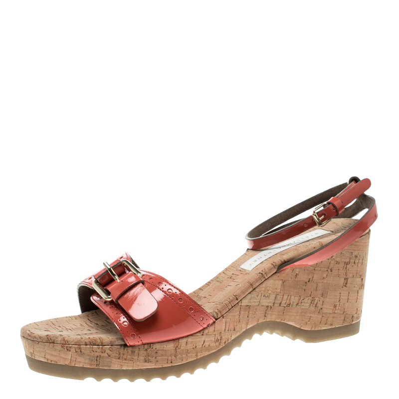 3108301f8 ... Stella McCartney Imperial Red Faux Patent Leather Linda Cork Wedge  Sandals Size 41. nextprev. prevnext