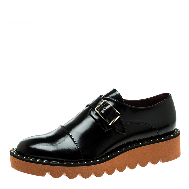 74660ded8f97a Buy Stella McCartney Black Faux Leather Odette Brogues Loafers Size ...