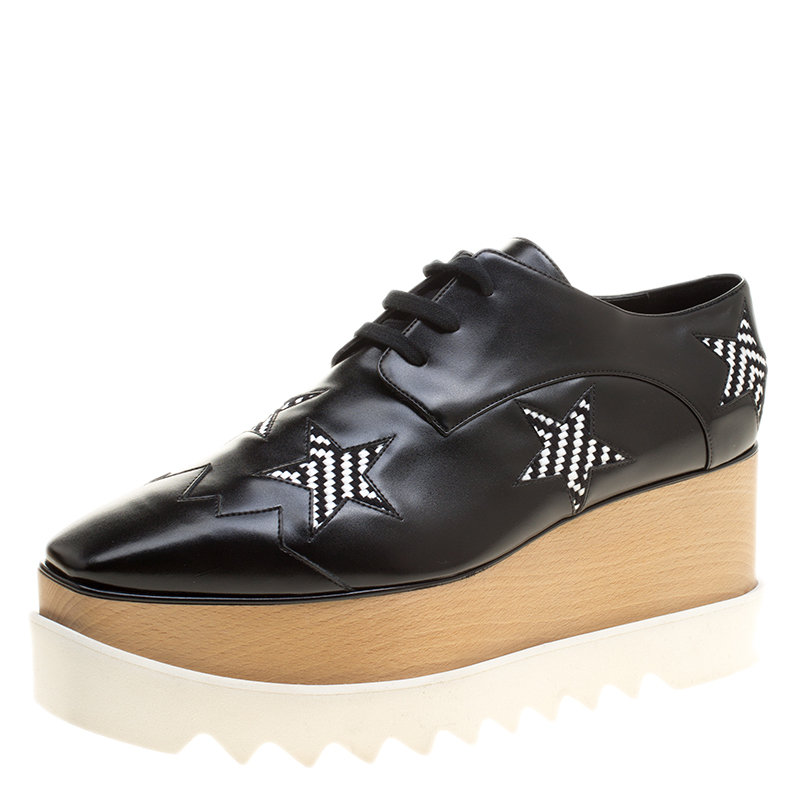 14d2e4b9d86d ... Stella McCartney Black Faux Leather Elyse Star Platform Lace Up Derby  Size 40.5. nextprev. prevnext