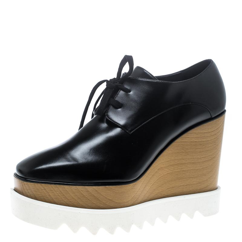 cfd09073fece ... Stella McCartney Black Faux Leather Elyse Platform Derby Size 39.5.  nextprev. prevnext