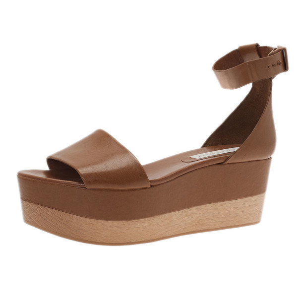 b1eaa2403 ... Stella McCartney Brown Faux Leather Lindsey Ankle Strap Wedge Sandals  Size 41. nextprev. prevnext