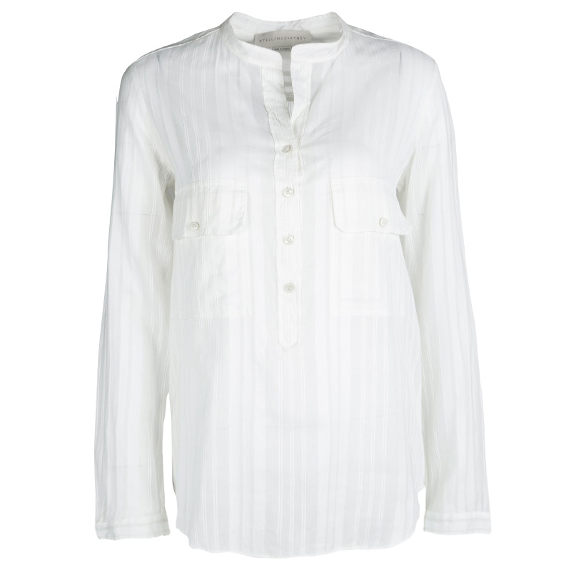 Stella McCartney Off White Self Striped Cotton-Silk Long Sleeve Shirt S