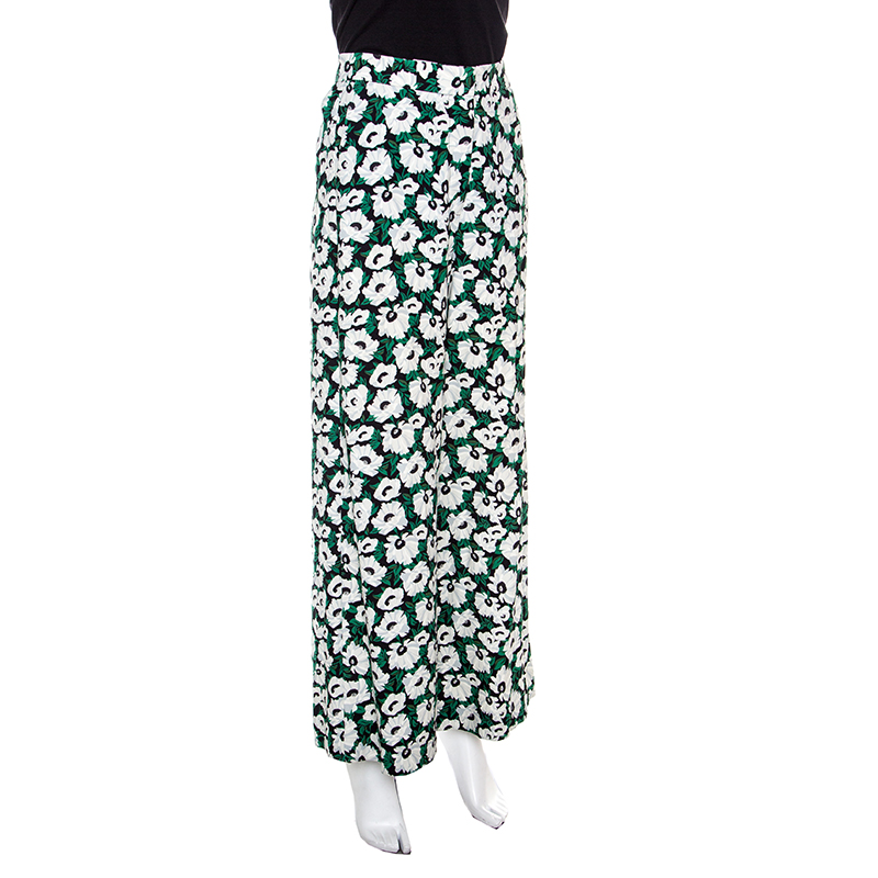 Stella McCartney Floral Printed High Waist Wide Leg Maude Trousers, Multicolor