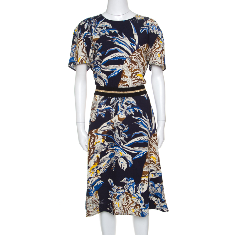 0bd36ab54f9c ... Stella McCartney Navy Blue Floral and Cat Printed Crepe Petra Dress L.  nextprev. prevnext