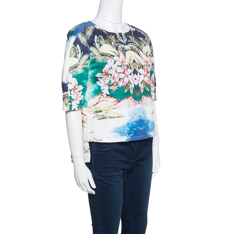 Stella McCartney Multicolor Hawaiian Print Stretch Cotton Buttoned Back Detail Top